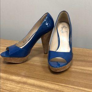 Franco Sarto Blue Patent Leather Platform Heels